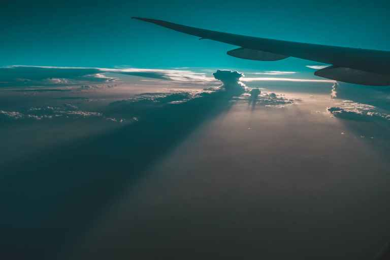 airplane wing on mid air